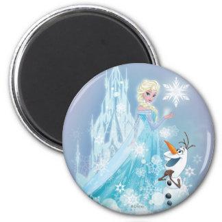 El   congelado Elsa y Olaf - resplandor helado Imán Redondo 5 Cm