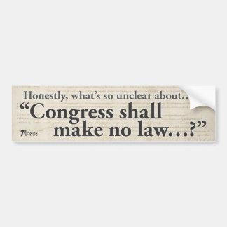El congreso no hará ninguna ley pegatina para auto