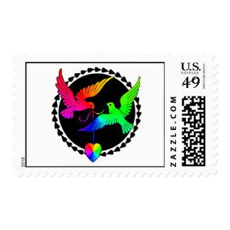 El conjunto del sello gay del boda del arco iris