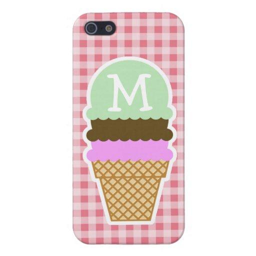 El cono de helado encendido se ruboriza guinga ros iPhone 5 fundas