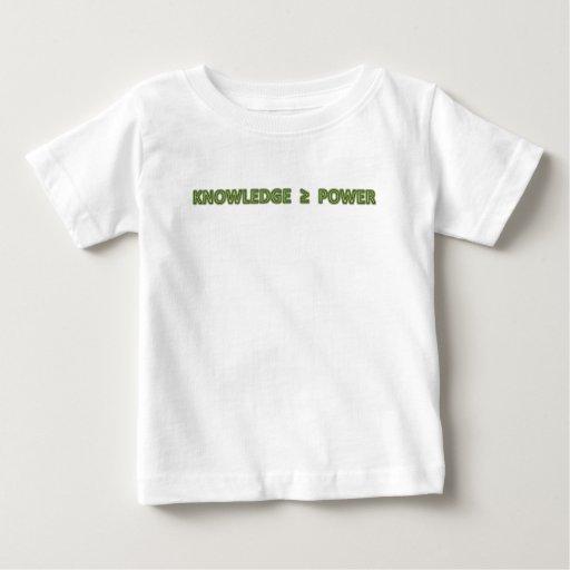 El conocimiento es mayor o igual poder playera de bebé