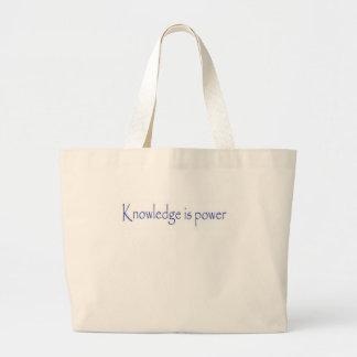 El conocimiento es poder bolsa de tela grande