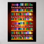 El conocimiento es poder Bookscase Póster