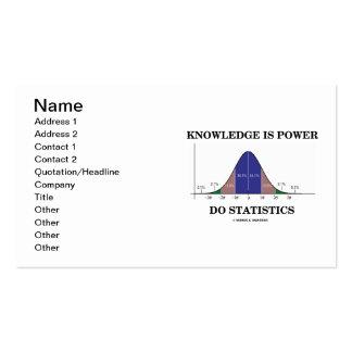 El conocimiento es poder hace estadísticas tarjetas de visita