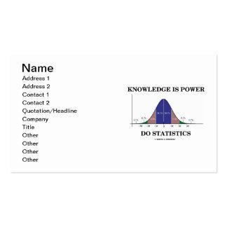 El conocimiento es poder hace humor de la curva de tarjetas de visita