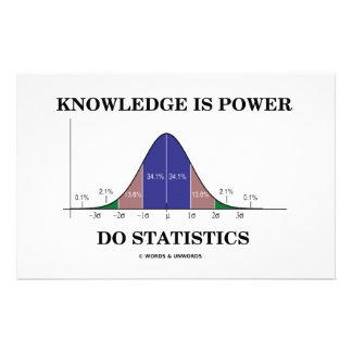 El conocimiento es poder hace las estadísticas (el papelería personalizada
