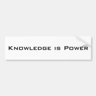 El conocimiento es poder pegatina para auto