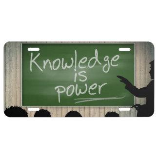 El conocimiento es poder placa de matrícula