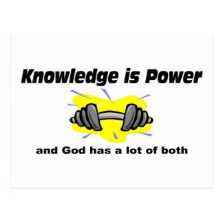 El conocimiento es poder y dios tiene ambo el tarjeta postal