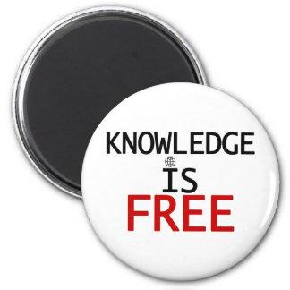 el conocimiento está libre imán redondo 5 cm