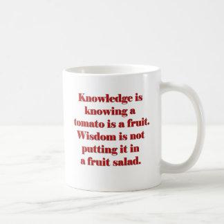 El conocimiento está sabiendo que un tomate es una taza
