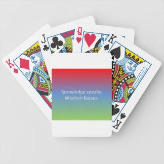 el conocimiento habla. la sabiduría escucha baraja de cartas