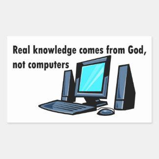 El conocimiento real viene de los ordenadores de pegatina rectangular