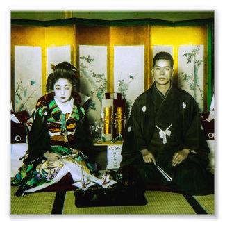 El conseguir casado en Japón viejo los pares Fotografía
