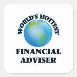 El consejero financiero más caliente del mundo calcomanía cuadradase