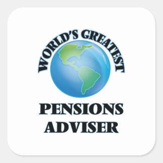El consejero más grande de las pensiones del mundo calcomanías cuadradass personalizadas