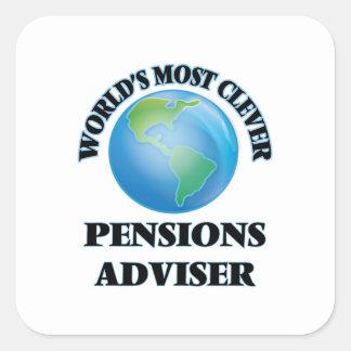 El consejero más listo de las pensiones del mundo calcomanía cuadrada