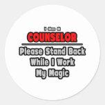 El consejero… retrocede… el trabajo mi magia etiquetas redondas