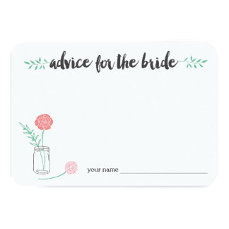 """El consejo para la novia carda el tarro de albañil invitación 3.5"""" x 5"""""""