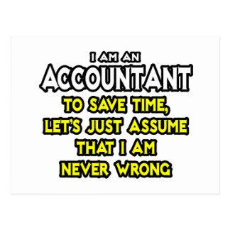 El contable… asume que nunca soy incorrecto tarjeta postal