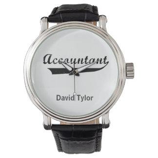 El contable se divierte el texto del estilo relojes de pulsera