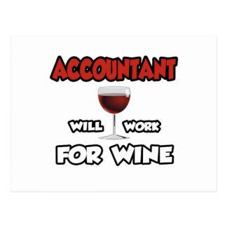 El contable… trabajará para el vino tarjetas postales