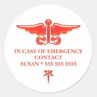 El contacto el | de la emergencia médica pegatina redonda
