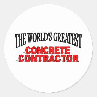 El contratista concreto más grande del mundo pegatina redonda