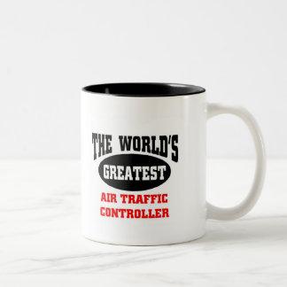 El controlador aéreo más grande taza de café de dos colores