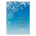 El copo de nieve blanco azul le agradece tarjetas