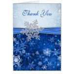 El copo de nieve de plata en el boda azul le agrad tarjetas