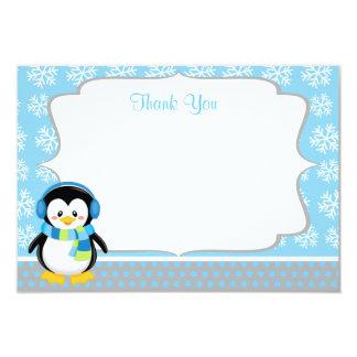 """El copo de nieve del invierno del pingüino del invitación 3.5"""" x 5"""""""