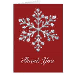El copo de nieve del invierno le agradece cardar tarjetas