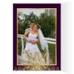 El copo de nieve del oro en el boda púrpura del tarjeta pequeña