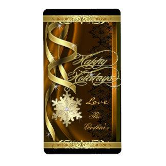 El copo de nieve dorado soña la etiqueta del etiqueta de envío