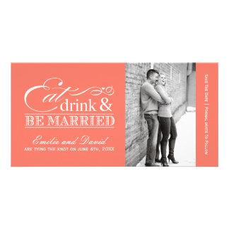 El coral come, bebida y sea reserva casada las fec tarjetas fotográficas personalizadas