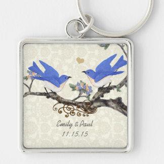 El coral de los Bluebirds del vintage florece el Llavero Cuadrado Plateado