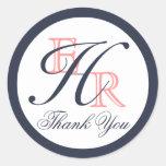 El coral del monograma H y el boda de la marina de Etiqueta Redonda