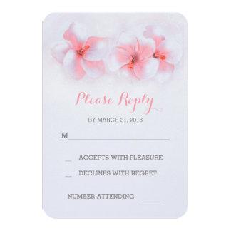 El coral florece las tarjetas de RSVP del boda de Invitación 8,9 X 12,7 Cm