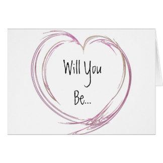 El corazón abstracto rosado sea mi dama de honor tarjeta de felicitación