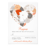El corazón anaranjado y gris florece casando la ta comunicado