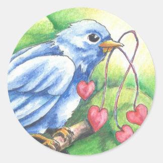El corazón ata a los pegatinas pegatina redonda