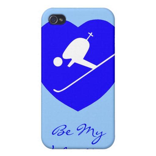 ¡El corazón azul de esquí del amor, sea mi tarjeta iPhone 4 Carcasas