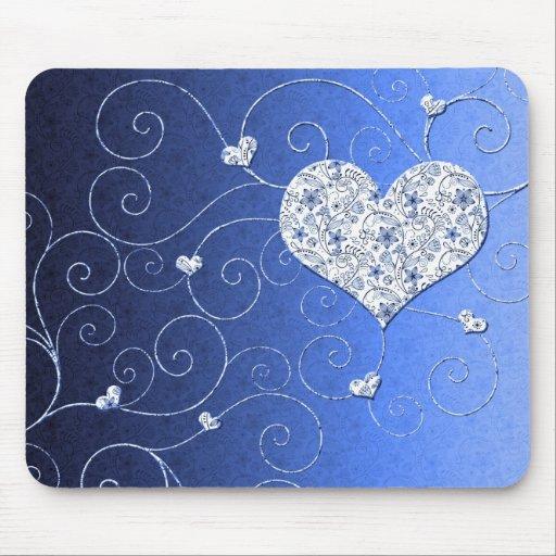 El corazón azul de lujo remolina Mousepad Tapete De Ratones