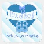El corazón azul lindo con la ducha del bebé del calcomanías cuadradass personalizadas