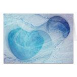 El corazón azul remolina tarjeta de felicitación e