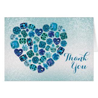 El corazón Bejeweled le agradece tarjeta de nota
