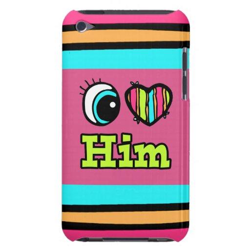El corazón brillante I del ojo lo ama Barely There iPod Cárcasas