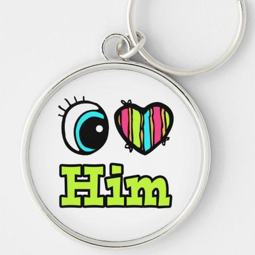 El corazón brillante I del ojo lo ama Llaveros Personalizados