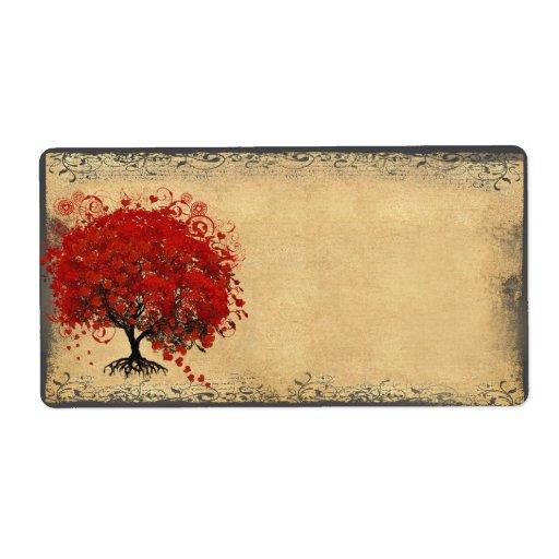 El corazón caprichoso lindo hojeó rojo del árbol etiquetas de envío